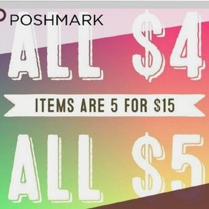Sale $4 items 5 for $15 $5 items 5 for $20